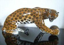 """Rosenthal Porzellan Figur """"Leopard mit Kugel"""" Figurine Schliepstein 1.Wahl 50cm"""
