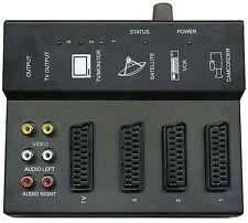 Commutatore elettronico splitter Switch Audio Video Rca Scart 3 in 1