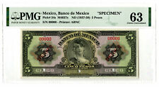 Mexico. Banco de Mexico. Specimen ND (1937-50) 5 Pesos P-34s, PMG CU 63, ABNC