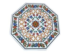 36 Inches White Marble Dining Table Top Inlay Semi Precious Stones Center Table