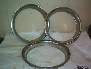 "THREE 14""  TRIM RINGS GM FORD MOPAR OEM  2"" DEEP"