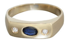 Massiver Goldring 585 Allianzring mit Brillanten u Saphir Brillantring Ring Gold