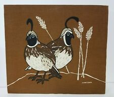 MARUSHKA Original Vintage QUAIL Partridge Birds Stretched Canvas Fabric on Wood
