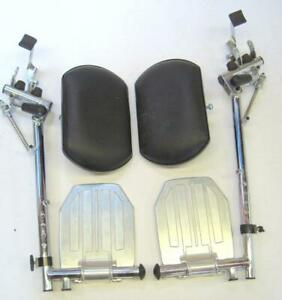 Heavy Duty Chrome Wheelchair Leg Rest w Foot Plates and Calf Pads Invacare