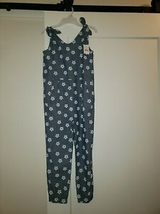 Crewcuts Girls  size 8 Chambray w/white flowers jumpsuit tie shoulder NWT
