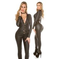Sexy Langarm-Overall Jumpsuit in Leder-Look mit Gürtel Schwarz #OV328