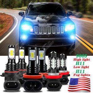 For Jeep Compass 2016 2017 2018 2019 2020 LED Headlight Hi/Lo+Fog Light 6× Bulbs