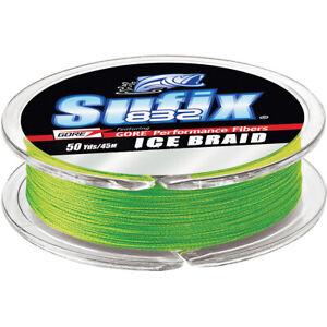 Sufix 50 Yard 832 Advanced Ice Braid Fishing Line - Neon Lime