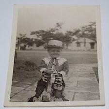 Vintage Boy Wearing Western Cowboy Clothes Horse Black & White Photo Photograph