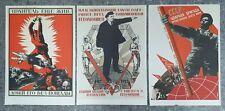 Set of 3 Soviet Propaganda Posters Original Art Communism Political Lenin USSR