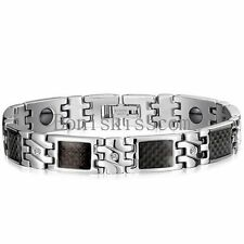 Mens Silver Stainless Steel Magnetic Cuff Bracelet Gift Black Carbon Fiber Inlay
