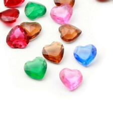 (20) 10mm Czech vintage mixed heart faceted Swarovski glass rhinestones