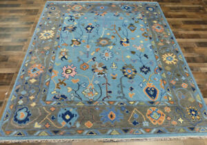 """8'3""""x10 New Turkish Oushak Hand knotted wool Oriental Transitional Blue area rug"""
