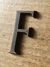 Antique Letter F Font Typeface Solid Bronze Vintage Reclaimed Sign