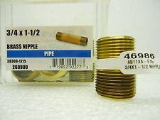 "(New) Ace 46986 Brass 3/4"" x 1-1/2"" Pipe Nipple Lot of 3 pcs"