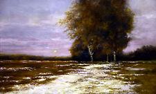 """Original Stuart Davies """"première neige"""" snowscape rural woodland hiver peinture à l'huile"""