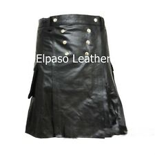 Men's  Cow Leather Pleated Kilt/LARP with Front  Buttons