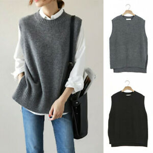 Ladies Wool Blend Knitted Vest Gilet Shirt Tops Sleeveless Jumper Sweater Loose