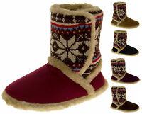 Ladies COOLERS Fairisle Faux Fur Lined Booties Slipper Boots Sz Size 3 4 5 6 7 8