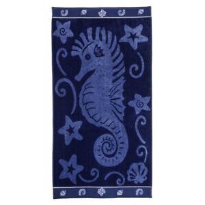 Jacquard 100% Cotton Blue Sea Horse Theme Oversized Beach Towel 450 GSM