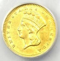 1857 Indian Gold Dollar (G$1 Coin) - Certified ANACS AU53 Detail - Rare Coin!