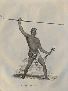 1814 WARRIOR OF NEW CALEDONIA COPPERPLATE ENGRAVING 206 YEARS OLD