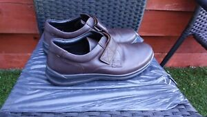 WORN ONCE MENS BROWN LEATHER DUAL FITTING SHOES BY HOTTER SIZE 10.