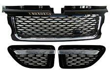 Range rover sport calandre + side vent autobiography style upgrade kit noir + chrome