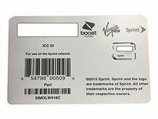 Sprint, Boost, Virgin Mobile Freedom Nano Sim Card 4g LTE Replacement 01.04