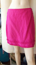 £25 Per Una pink ruffled hem mini skirt button side linen mix size 12 BNT