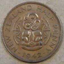 New listing New Zealand 1942 1/2 Penny Bn Au