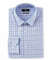 HUGO BOSS ENZO BLACK LABEL DRESS SHIRT REGULAR FIT POINT COLLAR PLAID BLUE -NWT