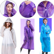 Clear See Through Raincoat Transparent Vinyl Rain Coat EVA Outdoor Camping IN UK