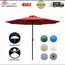 Sunnyglade 9Ft Patio Umbrella Outdoor Table Umbrella With Sturdy Ribs (Red)