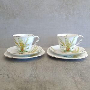 2 Art Deco Royal Stafford Broom Teacup Saucer Plate Trio England 1930s Vintage