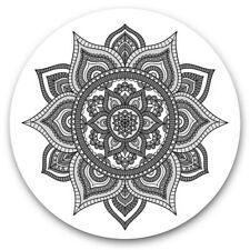 More details for 2 x vinyl stickers 30cm (bw) - indian mandala boho yoga  #37936