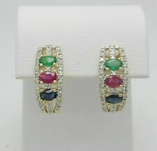 2.26Ct Ruby Emerald Sapphire Diamond Huggie Hoops Earrings 14K Yellow Gold Over