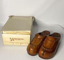 Vintage NEW 1970's Fanfare Platform Clogs Leather Wood Hippie Gypsy Boho BOX 10M