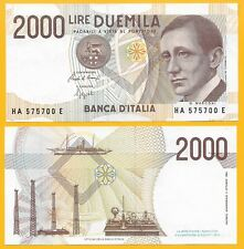 Italy 2000 Lire p-115 1990 UNC Banknote