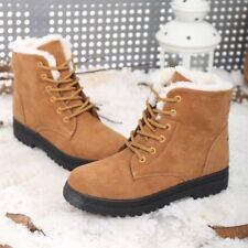Women's Winter Warm Suede Ankle Snow Boots Fur Thicken Ski Flats Casual Shoes