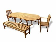 """Genuine Grade A Teak 95"""" x 39"""" Oval Double Extension table/2 Benches and Chairs"""