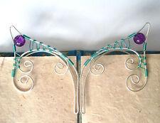 Handmade Seafoam Green & Silver Plated Elf Ear Cuffs, Fantasy Earcuffs, Cosplay
