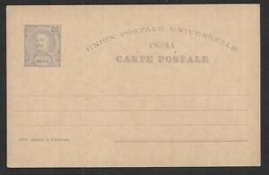Angola 20r violet King Carlos postal card unused