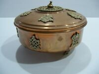 Vintage COPPER /BRASS CLAW FOOTED ROUND ORNATE TRINKET JEWELRY BOX....
