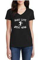 Ladies V-neck Make Love Great Again Shirt Funny Trump Tee Valentines Day T-Shirt