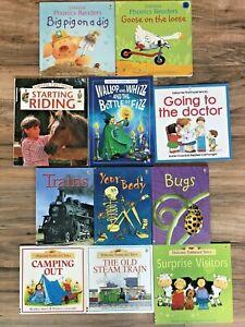 Lot of 11 Usborne Books Phonics Readers Farmyard Tales Homeschool Trains Bugs