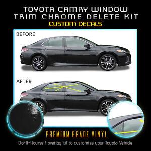 Fit 18-20 Toyota Camry Window Trim Chrome Delete Blackout Kit - Gloss Black