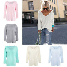 Hot Ladies Sexy V-neck Sweater Casual Loose Knitwear Tops Blouse Womens Pullover