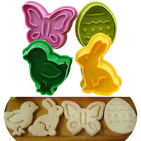 4 PCS Plunger 3D Easter Plastic Cookie Cutter Biscuit Pastry Fondant Baking Mold