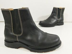 LL Bean Womens SIze 8 M Ankle Boots Black Leather Chelsea Pull On